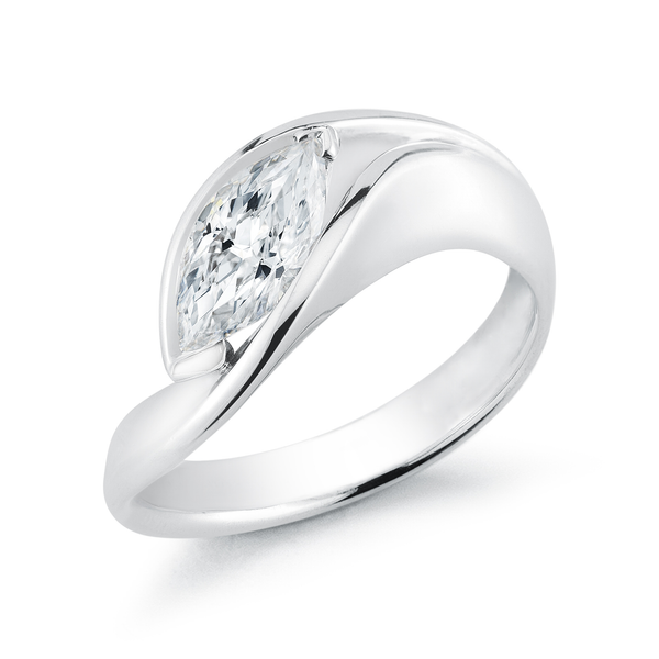 Contour Marquis Diamond Engagement Ring in Platinum by Diana Vincent