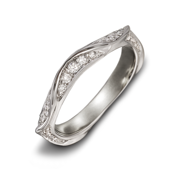 On the Edge Diamond and White Gold Curve Design Ring by Diana Vincent