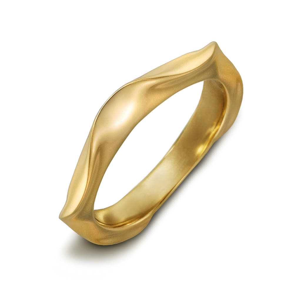 On the Edge Yellow Curve Gold Ring by Diana Vincent