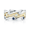 Contour Wave Diamond and Blue Sapphire Gold Stack Bands