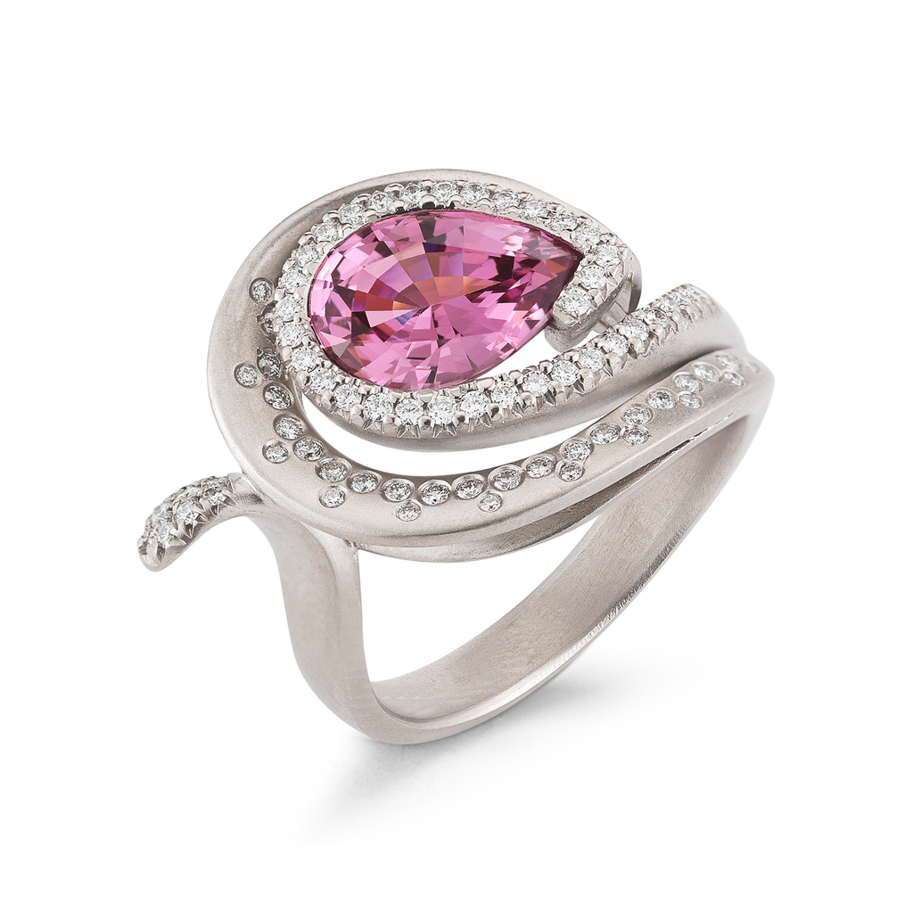 Large Pear Pink Spinnel Gemstone and Diamond Ring by Diana Vincent