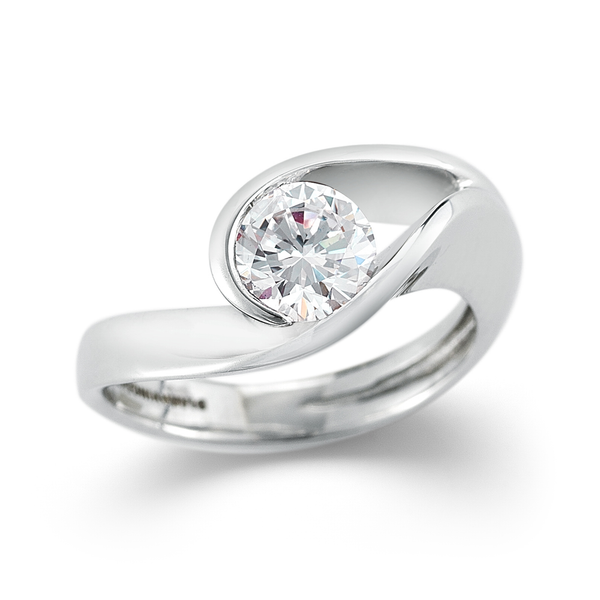 The Original Contour Round Solitaire Engagement Ring in Platinum by Diana Vincent