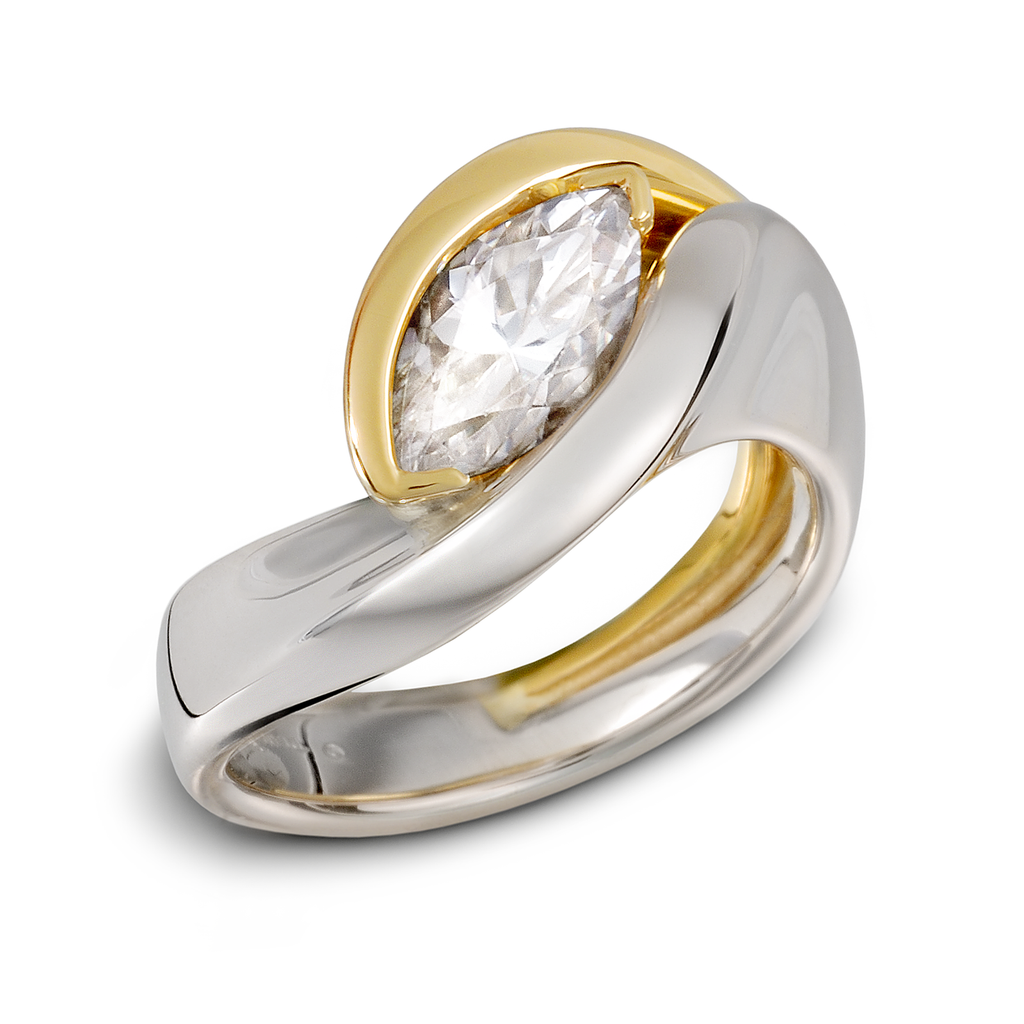 Gold Platinum Two Tone Marquis Engagement Ring by Diana Vincent