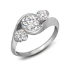 Contour Three Stone Round Diamond Engagement Ring Quarter View
