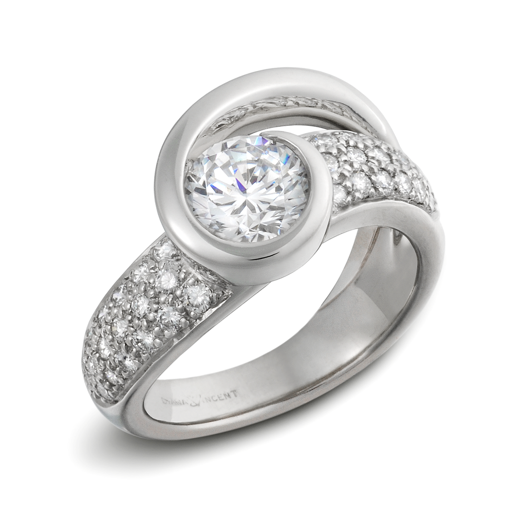 Contour Round Solitaire Engagement Ring with Pave Shank by Diana Vincent