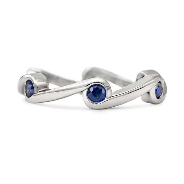 Contour Wave Blue Sapphire White Gold Stack Band by Diana Vincent