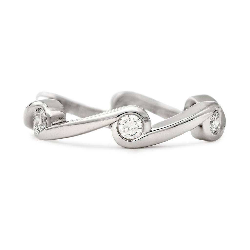 Contour Wave Diamond and Platinum Stack Band by Diana Vincent