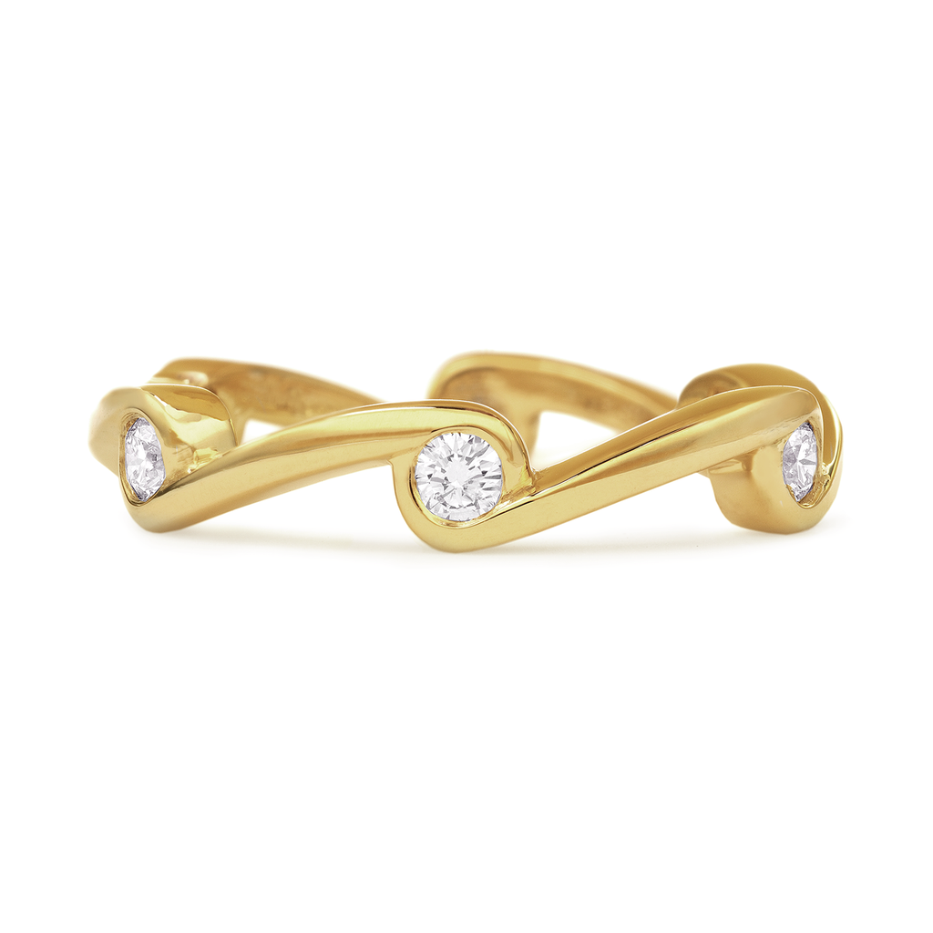 Contour Wave Diamond and Yellow Gold Stack Band by Diana Vincent