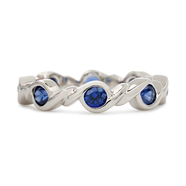 Contour Twist Blue Sapphire and White Gold Stack Band