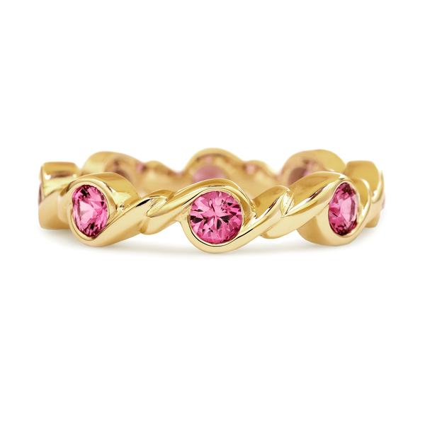 Contour Twist Yellow Gold and Pink Sapphire Stack Band by Diana Vincent