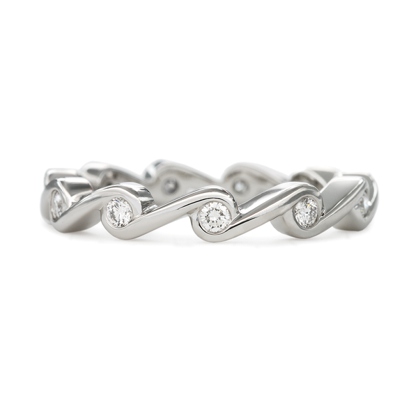 Contour Ripple Diamond and Platinum Stack Band
