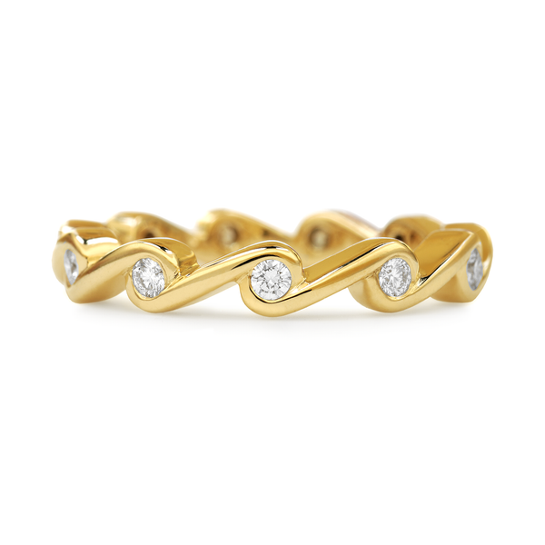Contour Ripple Diamond and Yellow Gold Stack Band by Diana Vincent