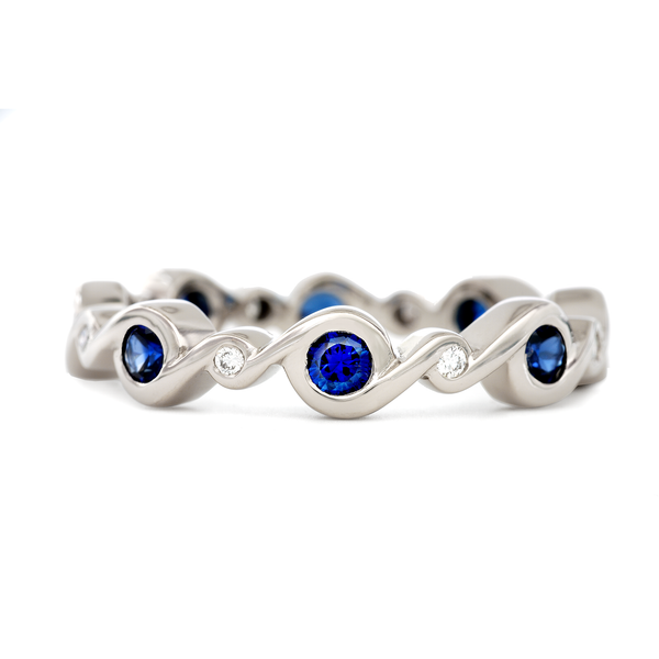 Contour Entwined Blue Sapphire and Diamond White Gold Stack Band by Diana Vincent
