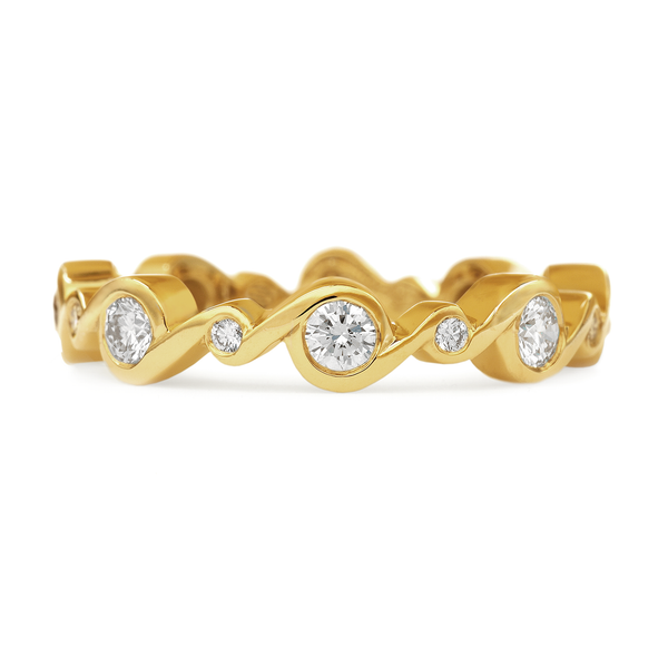Contour Entwined Diamond and Yellow Gold Stack Band by Diana Vincent