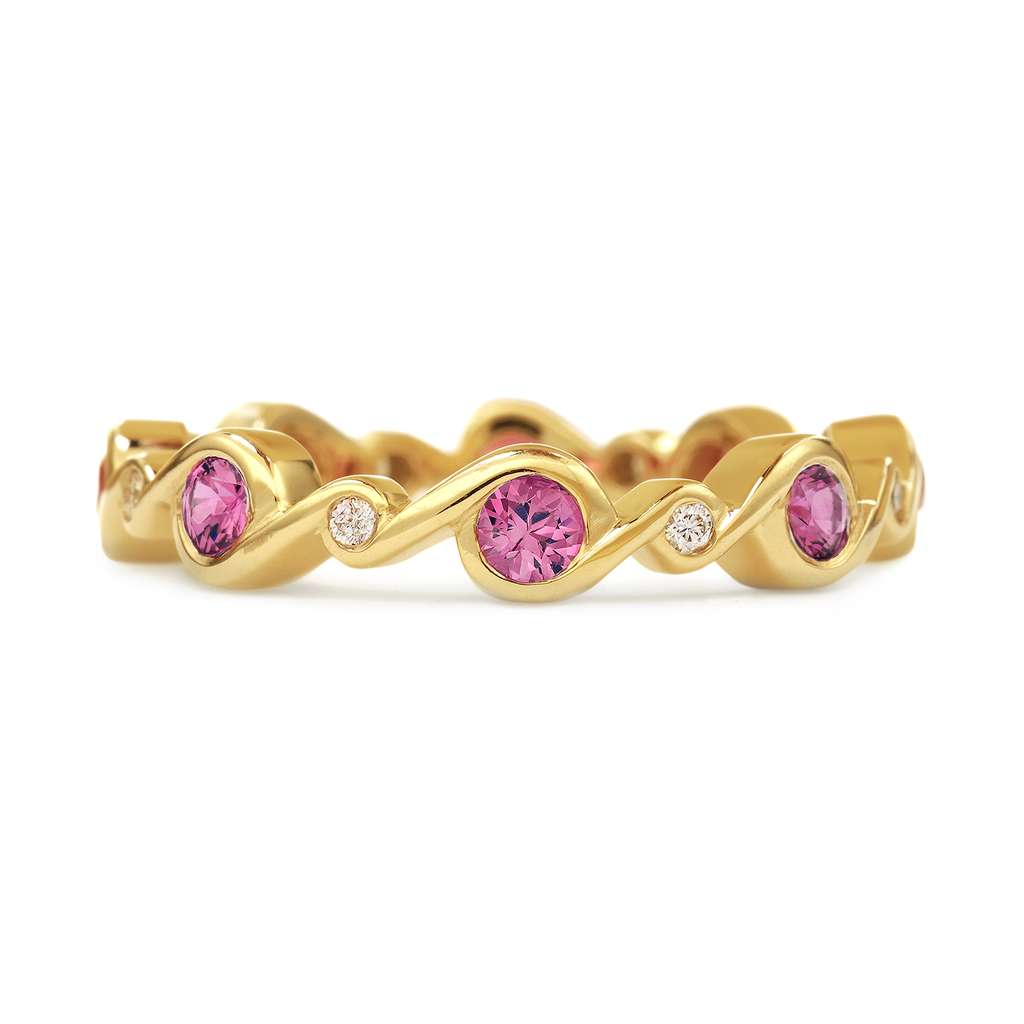 Contour Entwined Yellow Gold and Pink Sapphire and Diamond Stack Band by Diana Vincent