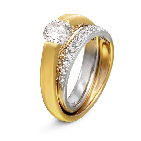 Continuum Two Tone Gold and Platinum Diamond Engagement Ring with Pave by Diana Vincent