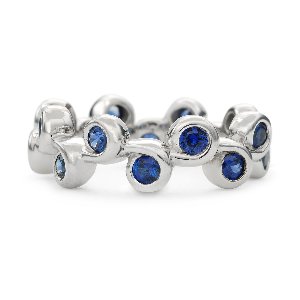 Contour Coil White Gold and Blue Sapphire Stack Band by Diana Vincent