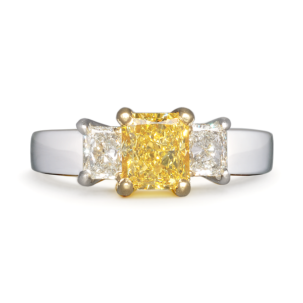 Unique White and Yellow Diamond Three Stone Engagement Ring by Diana Vincent