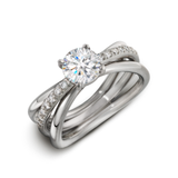 Unique Aura Solitaire Engagement Ring Single Row Diamond Shank Alternate View