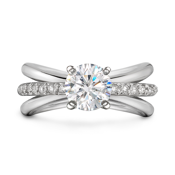 Unique Aura Solitaire Engagement Ring Single Row Diamond Shank by Diana Vincent