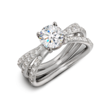 Aura Engagement Ring with Triple Row Diamond Shank Side View