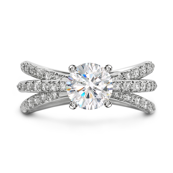 Aura Engagement Ring with Triple Row Diamond Shank by Diana Vincent