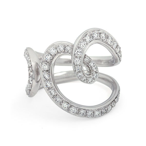 Heart Love Diamond and White Gold Ring by Diana Vincent