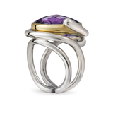 Twizzle Amethyst and Sterling Silver Double Bands Ring Side View