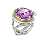 Twizzle Twist Design Amethyst Gemstone and Sterling Silver Ring by Diana Vincent