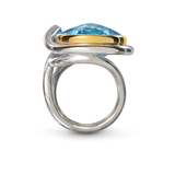 Twizzle Blue Topaz Gemstone and Sterling Silver Ring