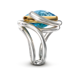 Twizzle Blue Topaz and Sterling Silver Double Bands Ring Side View