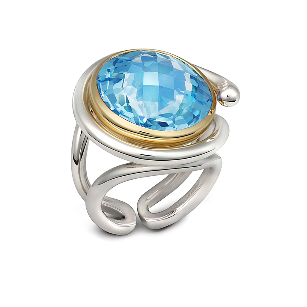 Twizzle Twist Design Blue Topaz  Gemstone and Sterling Silver Ring by Diana Vincent