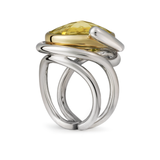 Twizzle Lemon Quartz and Sterling Silver Double Band Ring Side View