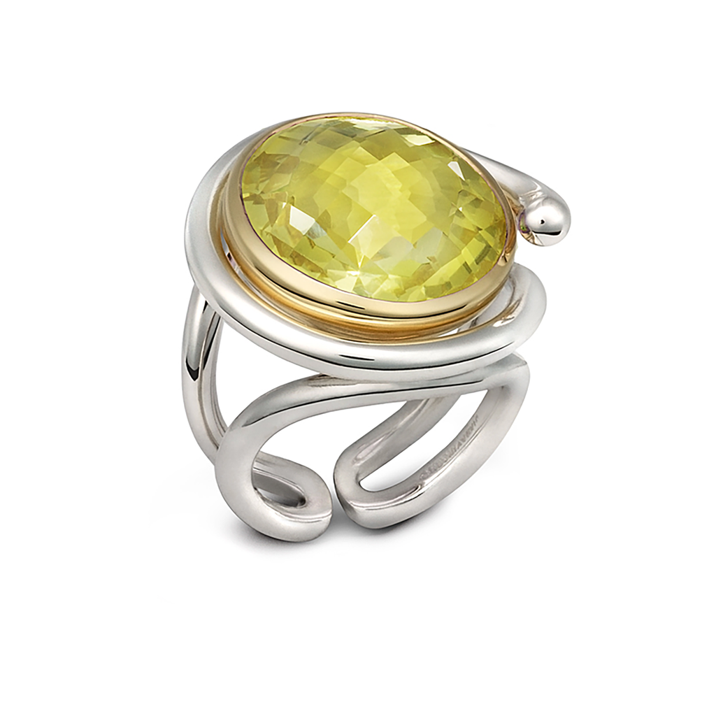 Twizzle Twist Design  Lemon Quartz Gemstone and Sterling Silver Ring by Diana Vincent
