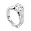 Entre Nous Solitaire Inside Pave Diamond Line Engagement Ring View
