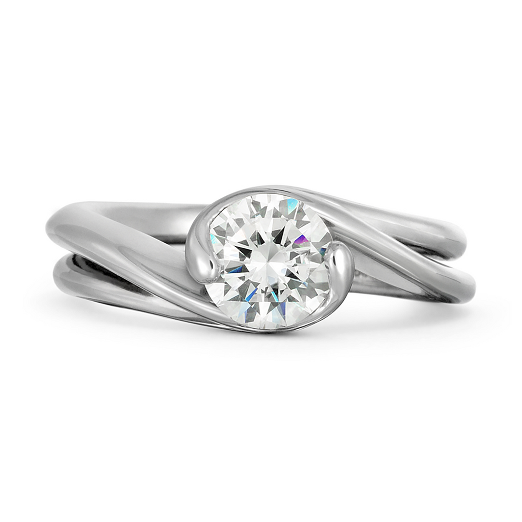 Contour Double Band Round Solitaire Engagement Ring by Diana Vincent