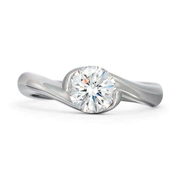 Contour Round Solitaire Engagement Ring by Diana Vincent