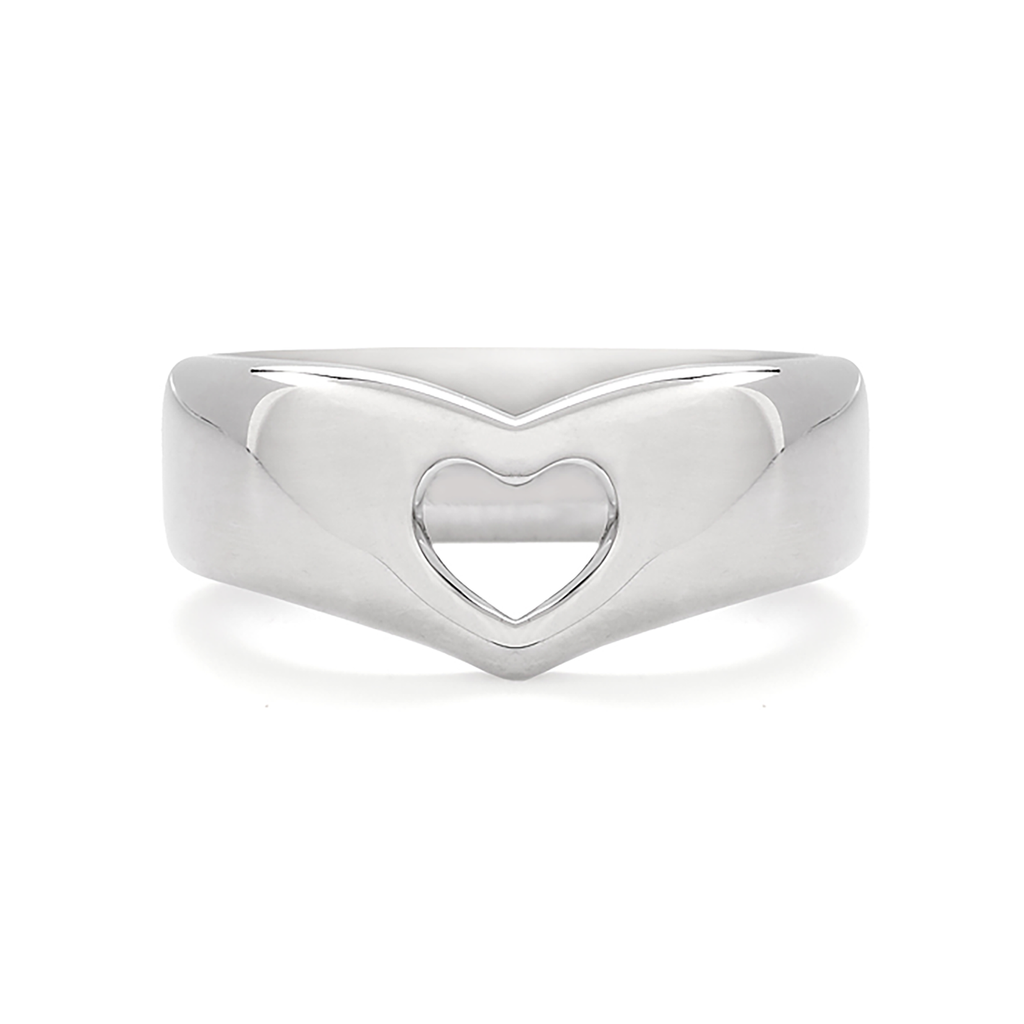 Heart Design Band Open in White Gold by Diana Vincent