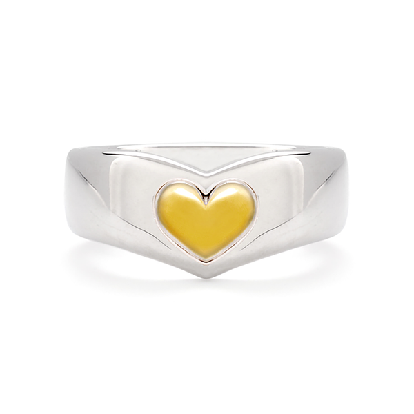 Heart Design True Love Band Open in White Gold by Diana Vincent