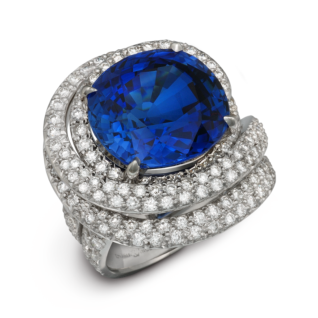 Large Burma Blue Sapphire Gemstone and Diamond Ring by Diana Vincent