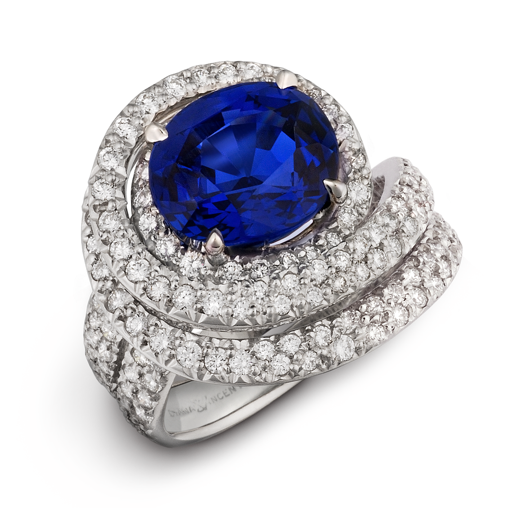 Large Burma Blue Sapphire Gemstone Diamond Cocktail Ring by Diana Vincent