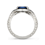 Duet Oval Blue Sapphire & Diamond Platinum Ring Side View