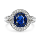 Duet Oval Blue Sapphire & Diamond Platinum Ring by Diana Vincent