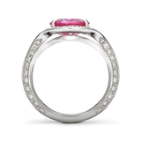 Duet Oval Pink Sapphire & Diamond Platinum Ring Side View