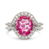 Duet Oval Pink Sapphire & Diamond Platinum Ring by Diana Vincent