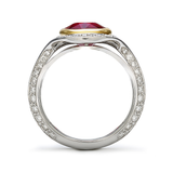 Duet Ruby and Diamond Two Tone Platinum and Yellow Gold Ring Side View