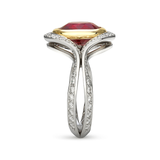 Two Band Ruby and Diamond Two Tone Platinum and Yellow Gold Ring Unique View