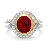 Duet Ruby and Diamond Two Tone Platinum and Yellow Gold Ring by Diana Vincent