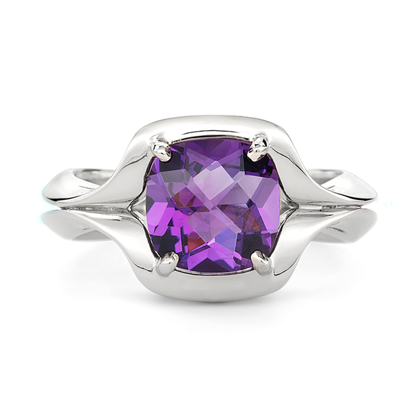 Duet Amethyst and White Gold Ring