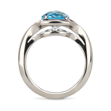 Duet Blue Topaz and White Gold Ring Side View